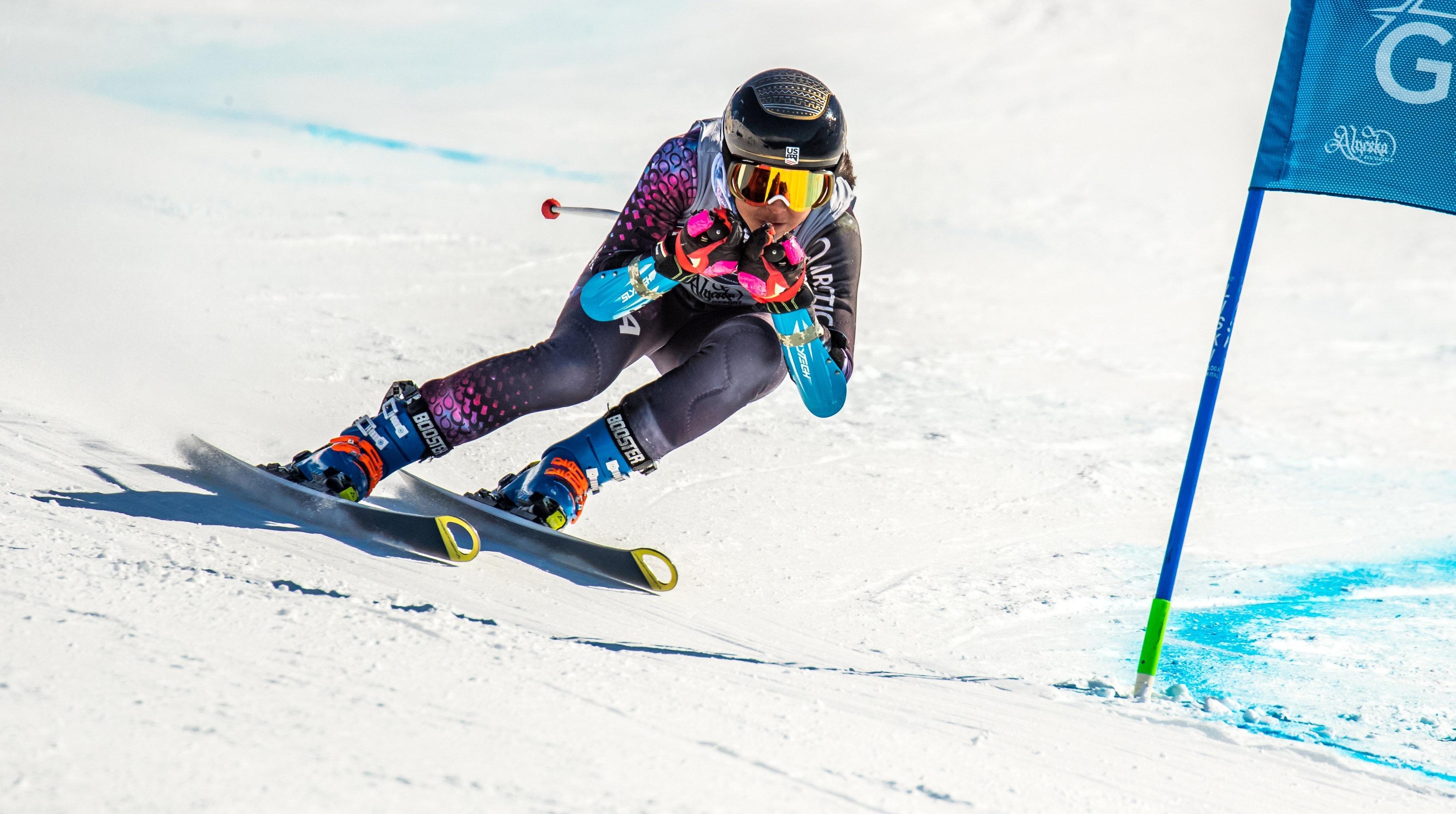 USSA member Jasmine Arrison competes at Western Region Championships in Alyeska, Alaska - Super G