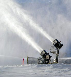 Snow guns create snow through pumping water and air through high pressure - consuming lots of energy
